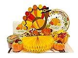 Thanksgiving Fall Party Decoration Pumpkin Themed Supply Kit - Leaf Paper Plate, Thankful Napkins, Pumpkin Salt & Pepper Shakers, Turkey Autumn Centerpiece, Candle, Fun Pumpkin Decor Serving 18 Guests