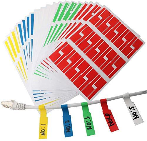 RUNCCI-YUN 600pcs Etiqueta de etiqueta adhesiva multiusos para clasificar o identificar el cable, combinar con impresora láser o marcador permanente, 6 colores, A4