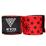 WYOX Hand Wraps Mexican Bandages Boxing Fist Inner Gloves Muay Thai MMA (Stars - Red, 180)