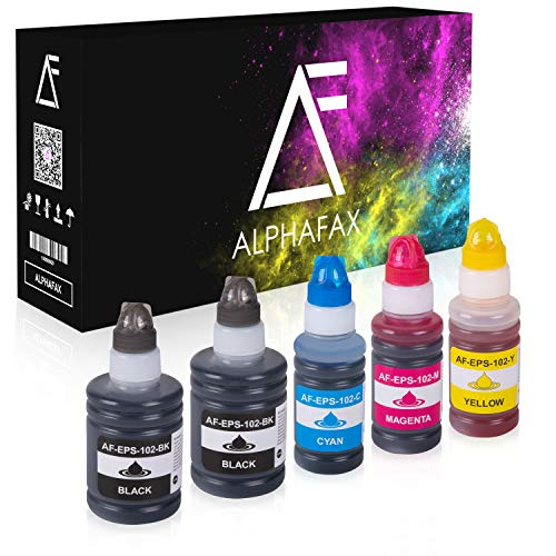 Alphafax 5X Tintentank kompatibel für Epson 102 ET-2750 ET-3700 ET-2700 ET-3750 Schwarz 2x127ml CMY je 70ml