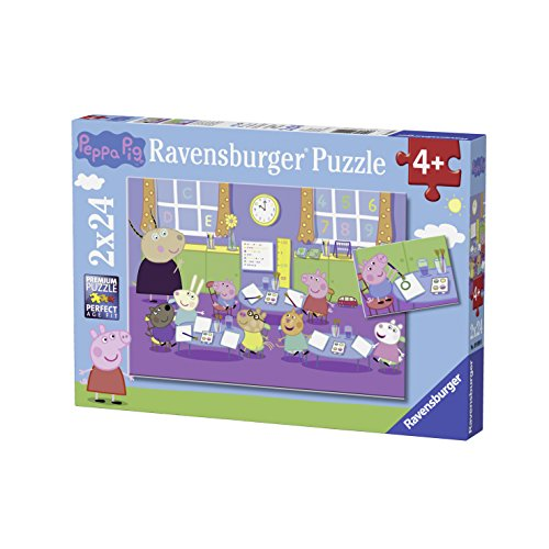 Ravensburger Kinderpuzzle 09099 - Peppa in der Schule - 2 x 24 Teile