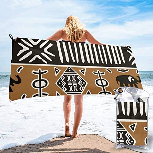 N/Een Afrikaanse Modder Doek Met Olifanten Strand Sneldrogende Handdoek Microvezel Yoga Fitness Absorberende Handdoek Outdoor Klimmen Sneldrogende Handdoek