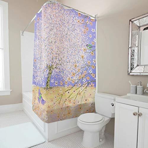 Generic Branded Cortina de ducha impermeable, antimoho, antibacteriana, opaca de tela, extra ancho, lavable, protección visual para el hogar y hotel White 120 x 200 cm