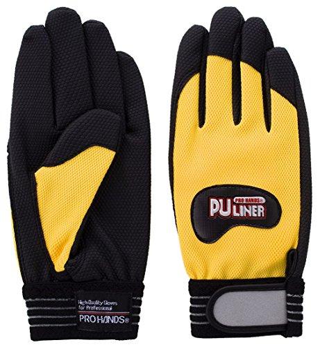 富士グローブ PUライナーアルファイエロー 合成皮革手袋 黄色 10双組 日本製素材使用 (Lサイズ)