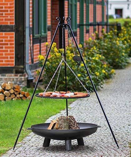 BlackOrange XL Feuerschalenset Shorty mit Feuerschale 80 cm, Grillrost 70 cm, Dreibein 180 cm und Kurbel, sowie passender Kette mit 4 Karabiner