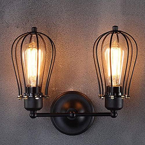 WEM Lámparas de pared, aplique de pared industrial retro, rústico, loft, luces de pared antiguas, pantalla de jaula de alambre, enchufe ajustable, accesorios de iluminación de pared de metal vintage
