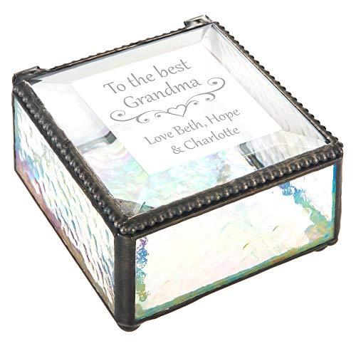 Glass Box Personalized Grandma Gift Jewelry Box Keepsake Vanity Organizer Decorative Display Case Birthday Mother's Day Nana Mimi J Devlin Box 909 EB255