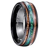 NUNCAD Mode Ringe für Herren/Damen wolframcarbid Ring Breit 8 mm mit Blaugrün Opal und Koaholz zum Mosaik schwarz als Freundschaftsring Verlobungsring Ehering Jahrestagring