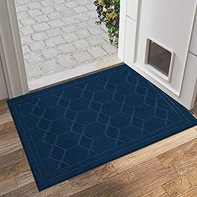 """DEXI Front Door Mat Indoor Entrance Welcome Doormat Entry Mats Interior Rug Low Profile Non Slip (31.5""""x47"""", Dark Blue)"""
