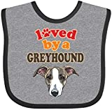Inktastic Greyhound Dog Lover Baby Bib Heather and Black 3cfac