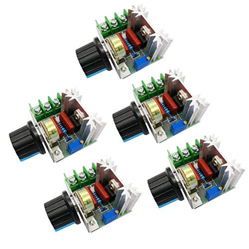 xocome 2000W Controlador de velocidad del motor de CA 50-220V 25A Regulador de voltaje ajustable Regulador electrónico Regulador del termostato (5 unidades)