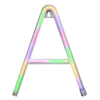 Fdit Energiesparende LED Englisch Alphabet Licht, 22 x 11,5 x 2 cm Buchstabe A Neonlicht Buchstabe Licht Brautpartys Junggesellenabschiede Geburtstag für Hochzeiten(Color)