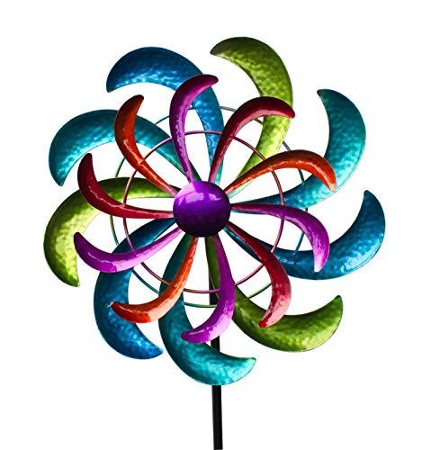 KLP Gartenstecker doppel Windrad Metall Blume Windmühle Windspiel Garten Deko Figur