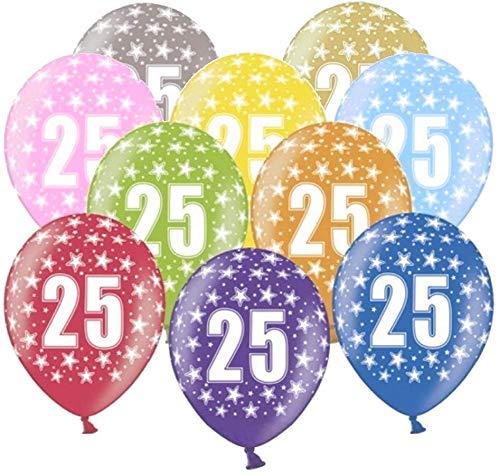 Libetui 10 kunterbunte Luftballons Nummer 25 Metallic 30cm Deko zum 25. Geburtstag Jubiläum Silberhochzeit Party Happy Birthday Dekoration 25 Jahre