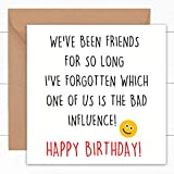 Funny Best Friend Birthday Cards   BFF Card   Friendship Gifts   Cute Witty Humour Laughter Joke Pun Presents   Men Women Him Her   Bestfriends Bestie Card   18th 20th 21st 30th 40th 50th 60th   6'