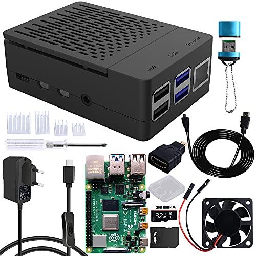 GeeekPi Raspberry Pi 4 Model B 8 GB de RAM + tarjeta micro SD de 32 GB, kit con carcasa Pi 4 con ventilador, fuente de alimentación con interruptor de encendido/apagado, cable HDMI para Raspberry Pi 4