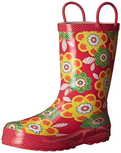 Western Chief Girls Printed Rain Boot, Zig Zag Floral, 12 M US Little Kid