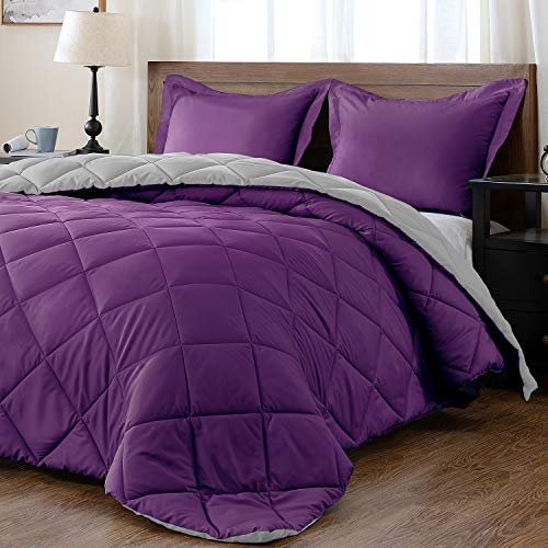 downluxe Lightweight Solid Comforter Set (Queen) with 2 Pillow Shams - 3-Piece Set - Purple and Grey - Down Alternative Reversible Comforter