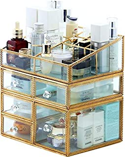 """PENGKE X-Large Gold Makeup Organizer,Clear Jewelry and Cosmetic Storage Case,Large Capacity for Beauty Product Organizer,5 Drawer Keep Your Vanity Organized,10.5""""x8.1""""x10.9"""""""