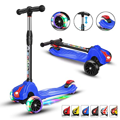 XJD Kick Scooter for Kids 3 Wheel Scooter for Toddlers Girls & Boys, 4 Adjustable Height, Extra-Wide Deck, with Max Glider Deluxe PU Flashing Wheels for Children from 3 to 14 Year-Old, Blue