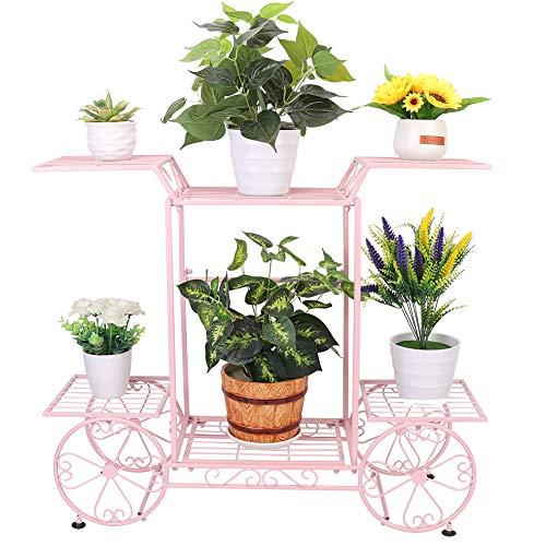 フラワースタンド アイアン 室内/玄関 おしゃれ花台 ガーデニング 棚 鉢植え/観葉植物 プランタースタンド ベランダ フラワーラック 植木鉢台 可愛い園芸ラック