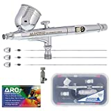 Master Airbrush Master Performance G233 Pro Set with 3 Nozzle Sets (0.2, 0.3 & 0.5mm Needles, Fluid Tips and Air Caps) -...