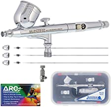Master Airbrush Master Performance G233 Pro Set with 3 Nozzle Sets (0.2, 0.3 & 0.5mm Needles, Fluid Tips and Air Caps) - Dual-Action Gravity Feed Airbrush, 1/3 oz Cup, Cutaway Handle