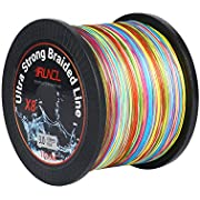 RUNCL Braided Fishing Line with 8 Strands, Fishing Line PE Material 1093Yds/1000M with Multiple Colors for Freshwater and Saltwater (1093Yds/1000M, 18LB(8.2kgs))