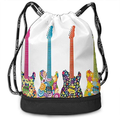Mochilas con cordón, diseño de guitarras eléctricas con flores coloridas, estrellas, círculos, patrón abstracto, cierre de cuerda ajustable.