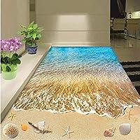 Iusasdz カスタム床壁画現代夏のビーチシェルとヒトデ自己接着床絵画浴室リビングルーム壁紙ロールA-250X175Cm