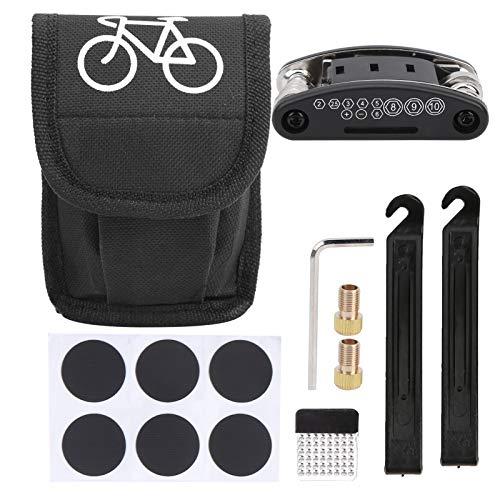 Herramientas de reparación de neumáticos de bicicleta, kit de reparación de neumáticos rápido para bicicletas, palanca de neumáticos, herramienta multifunción 16 en 1, juego de mantenimiento de bicicl