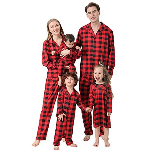 K-Youths 2PCS Ropa de Navidad clásica a Cuadros - Ropa de Dormir Suave y cómoda - Conjunto de Pijamas de Navidad Familiares a Juego Conjunto de Lindo Disfraz de Manga Larga