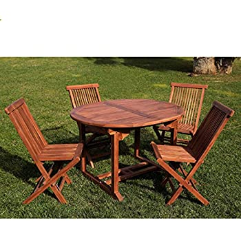 Set Tavolo Ovale allungabile e 4 sedie Pieghevoli