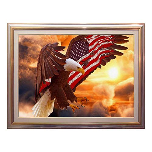 Diamond Painting Kits American Flag Eagle Flying for Adults Full Round Drill Large Size Gem Art Paint by Numbers DIY Relaxing Craft Room Wall Decor, 12x16 inches