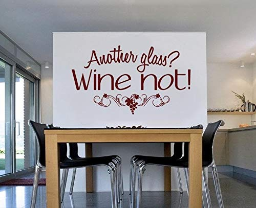 Adhesivo decorativo para pared con texto 'Another Glass Wine Not