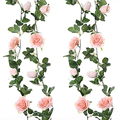 Felice Arts 2PCS 13 FT Fake Silk Rose Vine Flowers Plants Artificial Flower Hanging Rose Ivy Home Hotel Office Wedding Party Garden Craft Art Decor,Pink