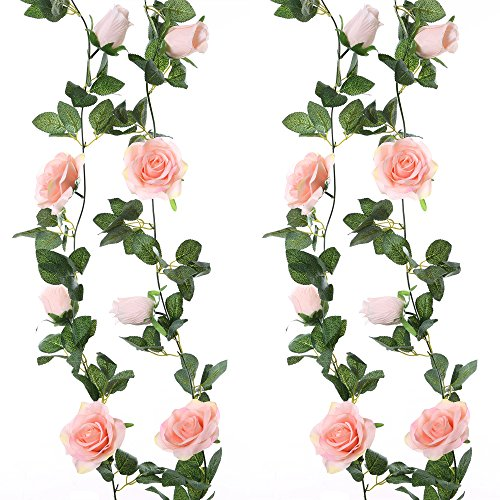 Felice Arts 2PCS 13 FT Fake Silk Rose Vine Artificial Floral Garland Plants Hanging Rose Ivy for Home Wedding Party Garden Hotel Office Craft Art Decor, Pink