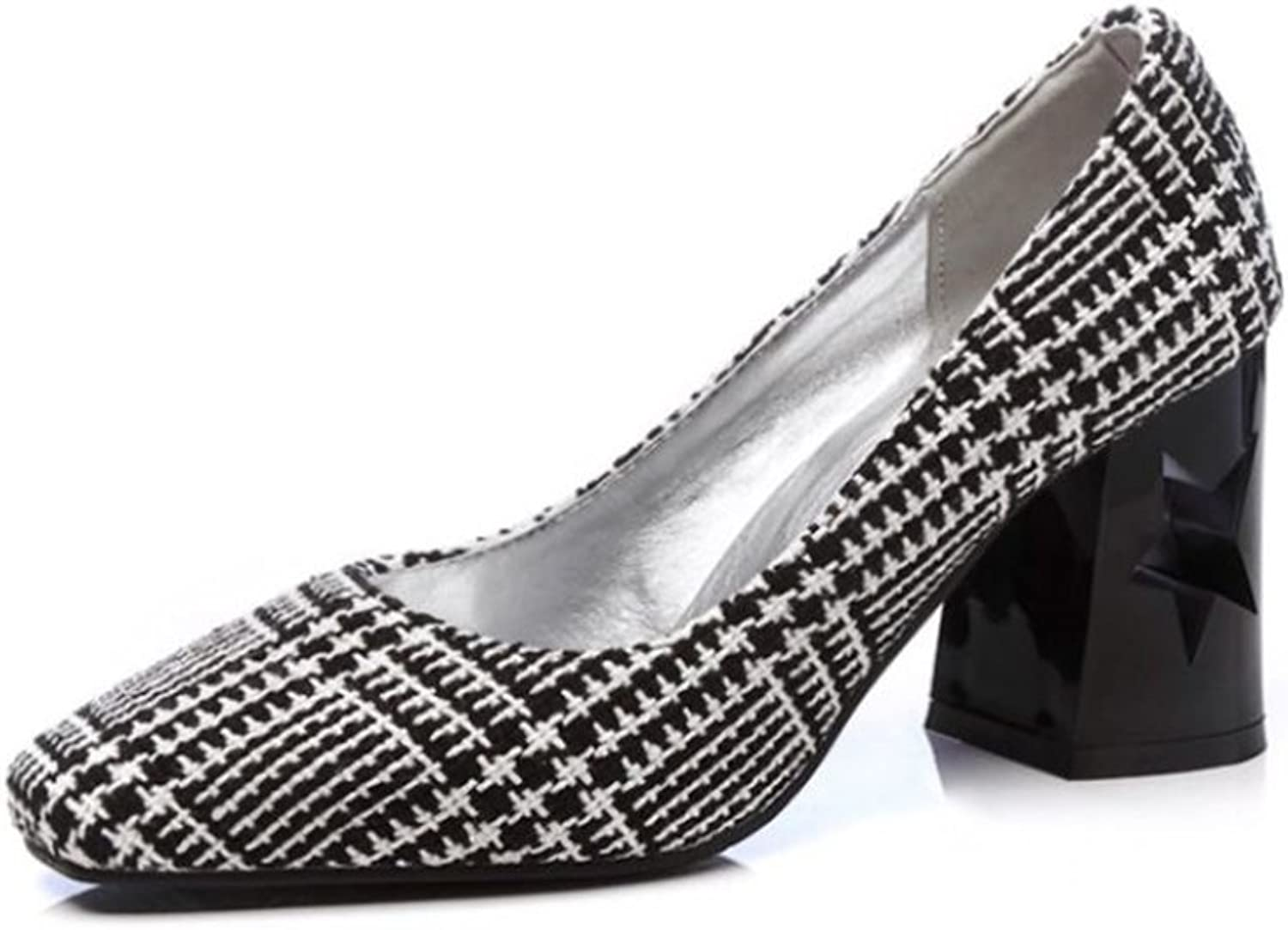Linson123 Women's high Heels Thick with Plaid Ladies high-Heeled Evening shoes Wild
