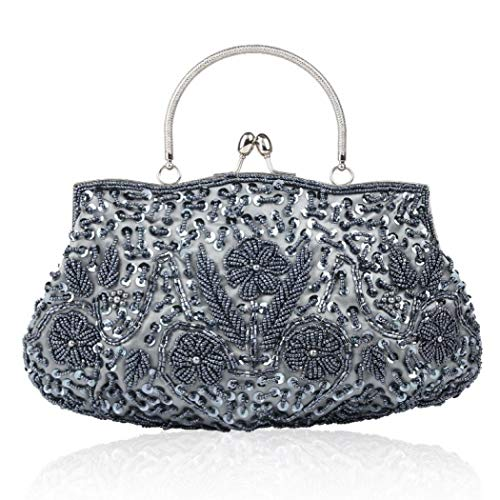 Noble Beaded Sequin Flower Evening Purse Large Clutch Bag Handbag for Women (Gray)