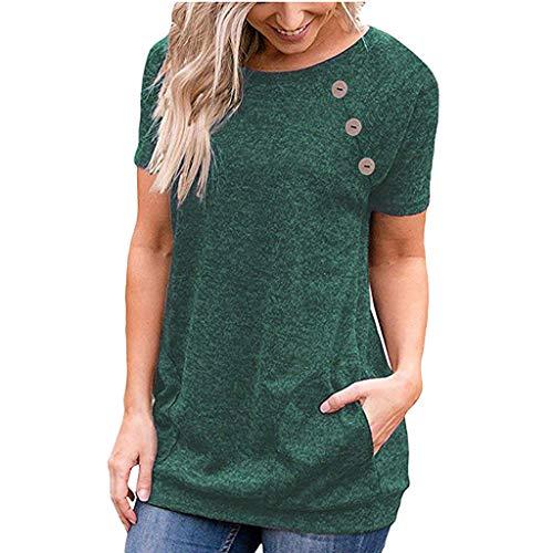 Luckycat Mujer Camiseta Suelta T-Shirt Verano Túnica Tops Estival de Manga Corta Casual Ropa Tamaño Grande con Botón