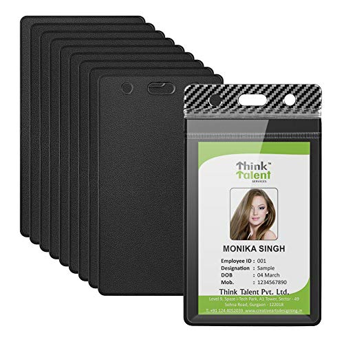 """YoungRich 10 Pcs Heavy Duty ID Card Badge Holder Clear Vertical Vinyl PVC with Waterproof Type Resealable Zip Plastic Card Sleeve for Proximity Swipe Cards Credit Card Driver License 4.5""""X2.5"""" Black"""