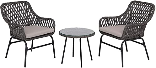 Outdoor Wicker Conversation Setting Patio Furniture 2 Seater w/Coffee Table Set (Black)