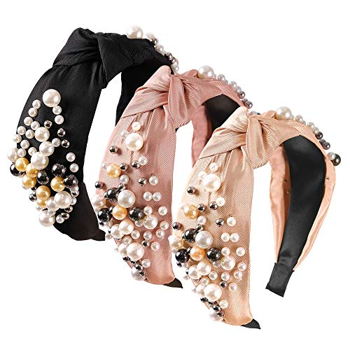 Wide Pearl Headbands Knotted Headbands for Women 3 Colors, Elastic Hair Hoops Knot Turban Headband, Bling Headbands Vintage, Fashion Hair Accessories for Women and Girls