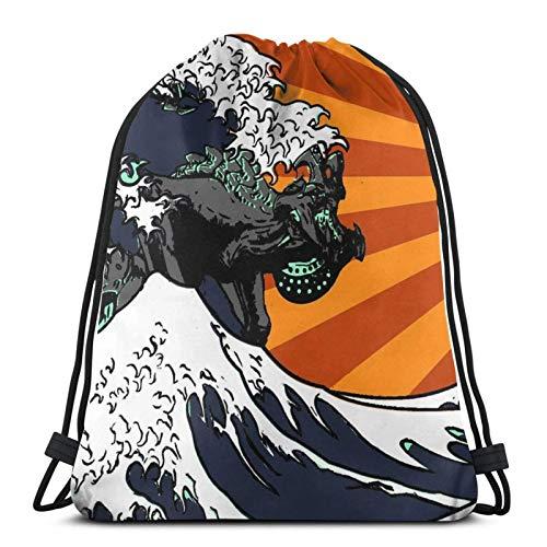 Kaiju Vs Jae-Ger (Japanische Welle) Drstring Rucksack Gym Sack Pack Solid Cinch Pack Sinch Sack Sport String Bag