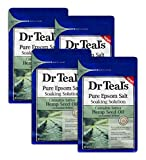 Dr Teal's Epsom Salt 4-Pack (12 lbs Total) Sativa Hemp Seed Oil - Pure Epsom Salt For Soothing Winter Baths And Muscle Recovery - with Essential Oil Blend