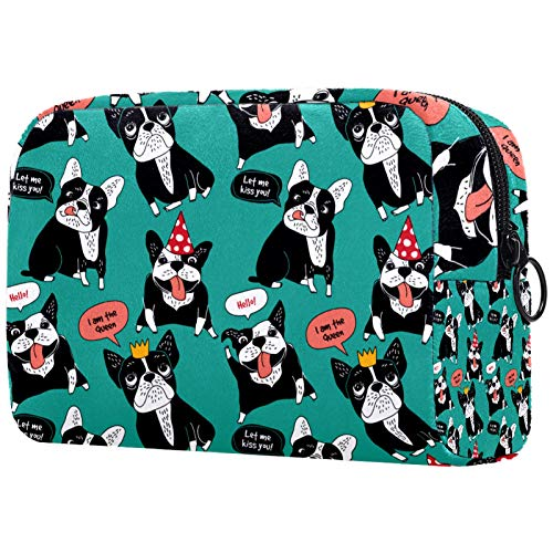 Cosmetic bag Womens Makeup Bag For travel to carry cosmetics change keys etc,Black French Bulldog