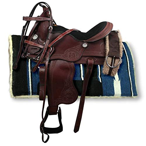Manaal Enterprises Premium Leather Western Barrel Racing Adult Horse Saddle Tack, Headstall, Breast Collar, Reins & Saddle Pad Size 14-18 Inch (18' Inches Seat)