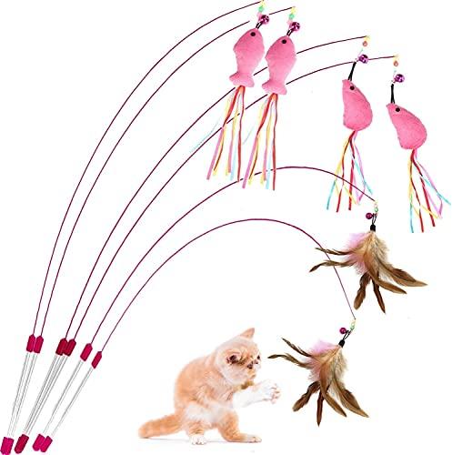 Aidiyapet 猫おもちゃ 猫じゃらし ねこ おもちゃ 弾性子猫のおもちゃ 天然鳥の羽棒鈴付き 猫 おもちゃ 人気 一人遊び 運動不足解 猫のおもちゃ(6点セット)