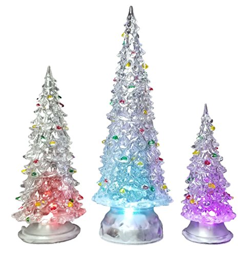 BANBERRY DESIGNS Table Top LED Christmas Trees - Set of 3 - Lighted Acrylic Christmas Trees with Ornaments Holiday Decoration Sizes are 10' H, 7.5' H & 5.5' H