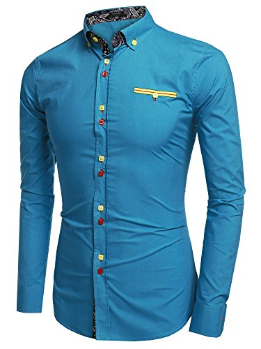 Coofandy Men's Fashion Slim Fit Dress Shirt Casual Shirt Lake Blue Small steampunk buy now online